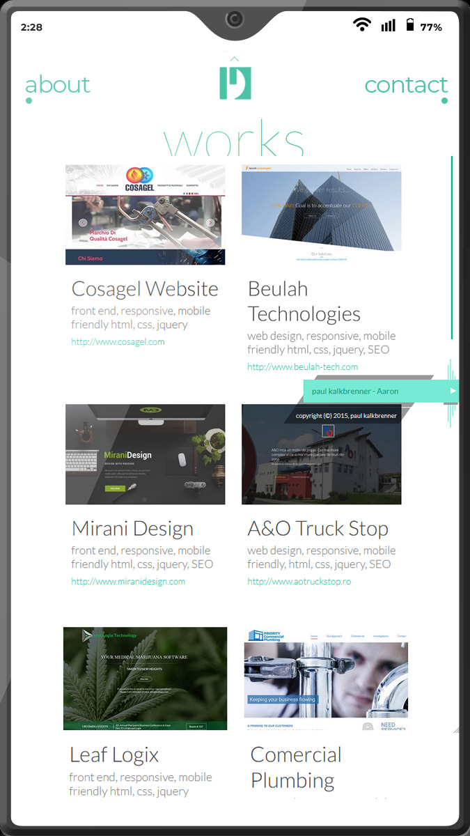 Website design frontend mobile view